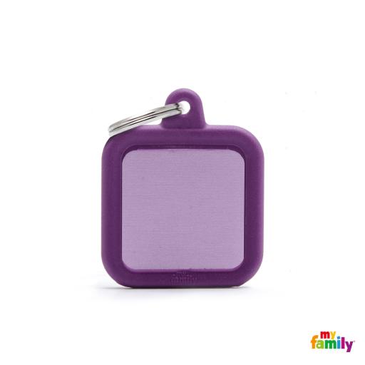 Placa Hushtag Cuadrado Aluminio Violeta Goma Violeta