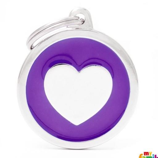 Placa Classic Círculo Grande Violeta Corazón