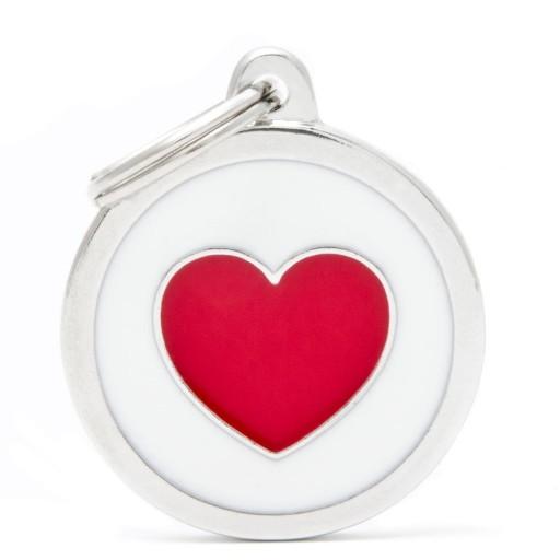 Placa Circulo Grande Blanco Corazón Rojo