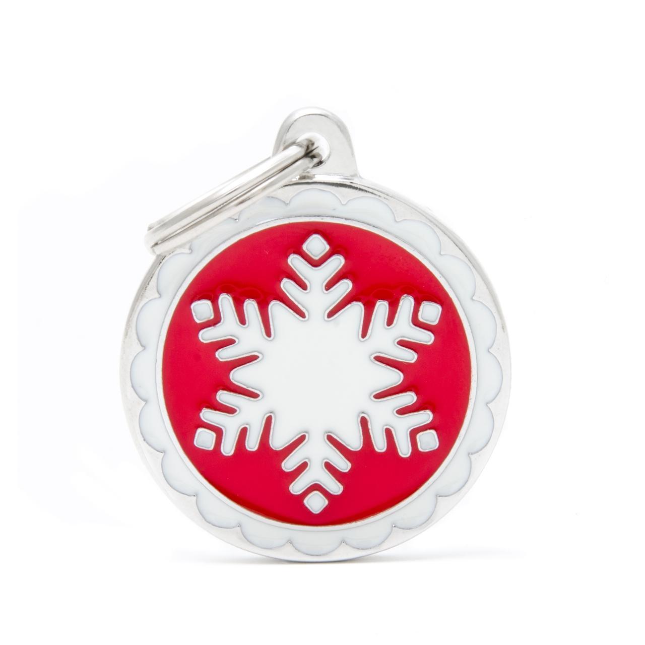 Placa Circulo Grande Rojo Copo De Nieve Blanco
