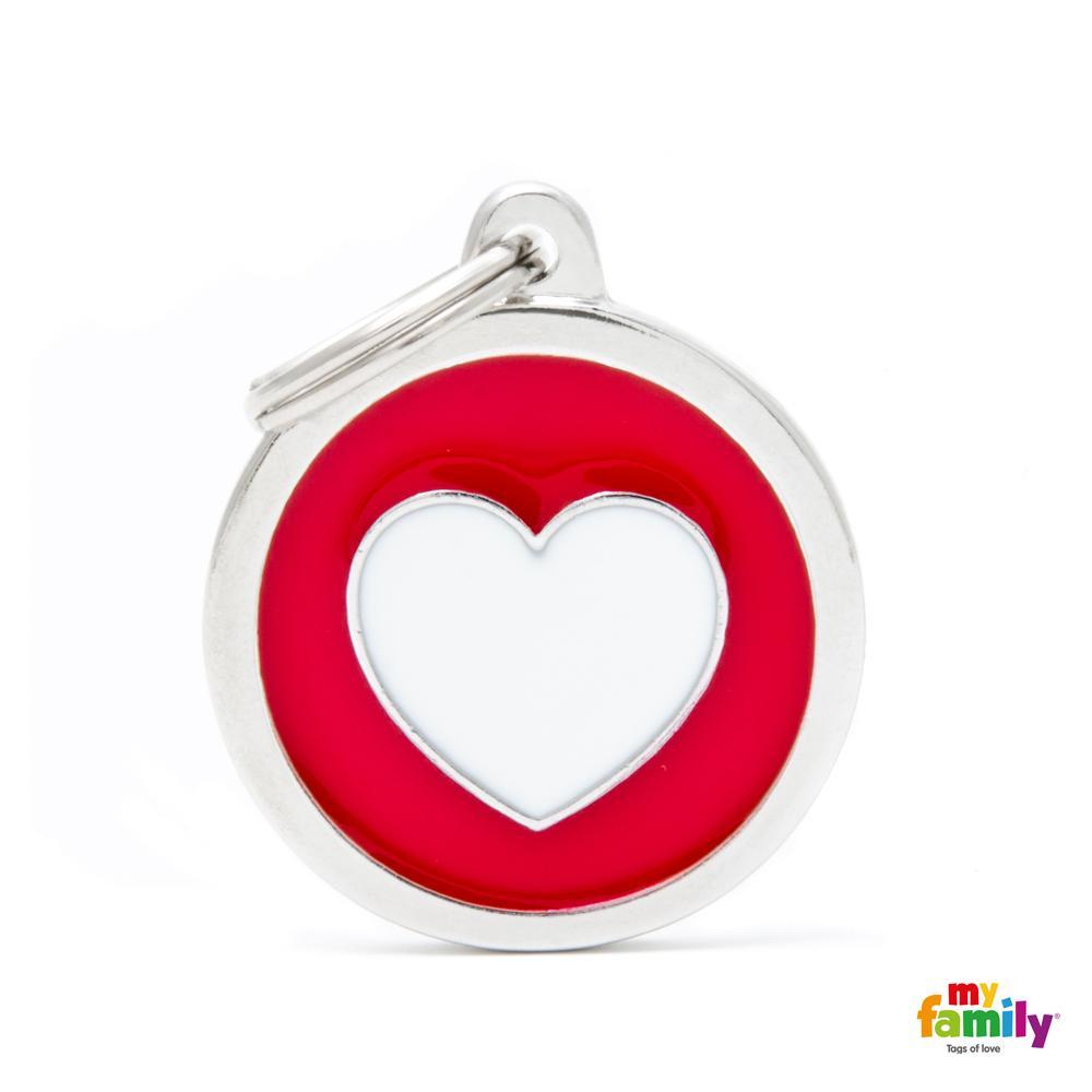 Placa Classic Círculo Grande Rojo Corazón Blanco