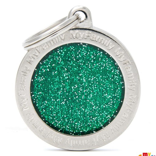 Placa Círculo Grande Verde con Purpurina
