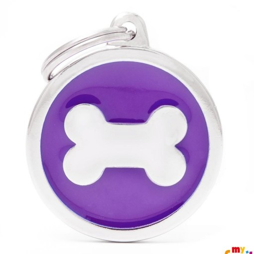Placa Classic Círculo Grande Violeta Hueso