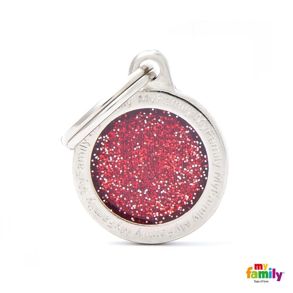 Placa Círculo Pequeño Rojo con Purpurina