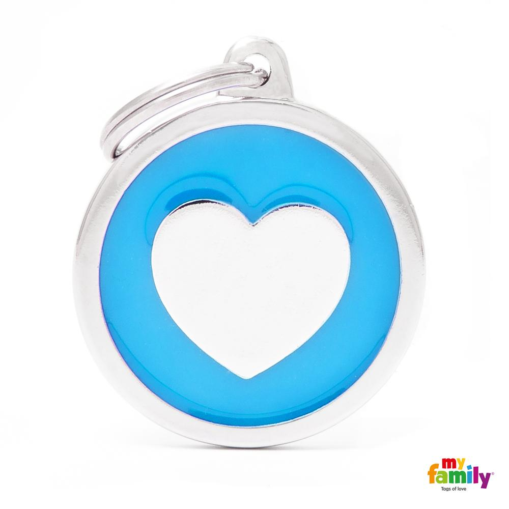 Placa Classic Círculo Grande Azul Corazón