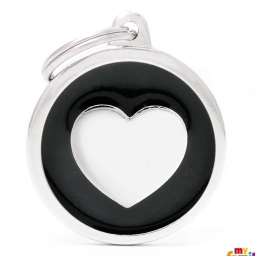 Placa Classic Círculo Grande Negro Corazón [0]
