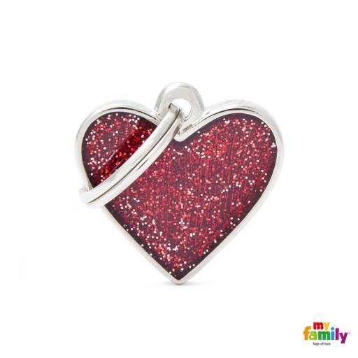 Placa Corazón Pequeño Rojo con Purpurina