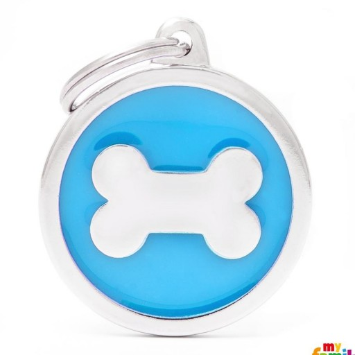 Placa Classic Círculo Grande Azul Hueso
