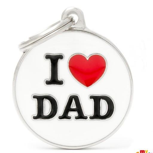Placa Círculo Grande I Love Dad [0]