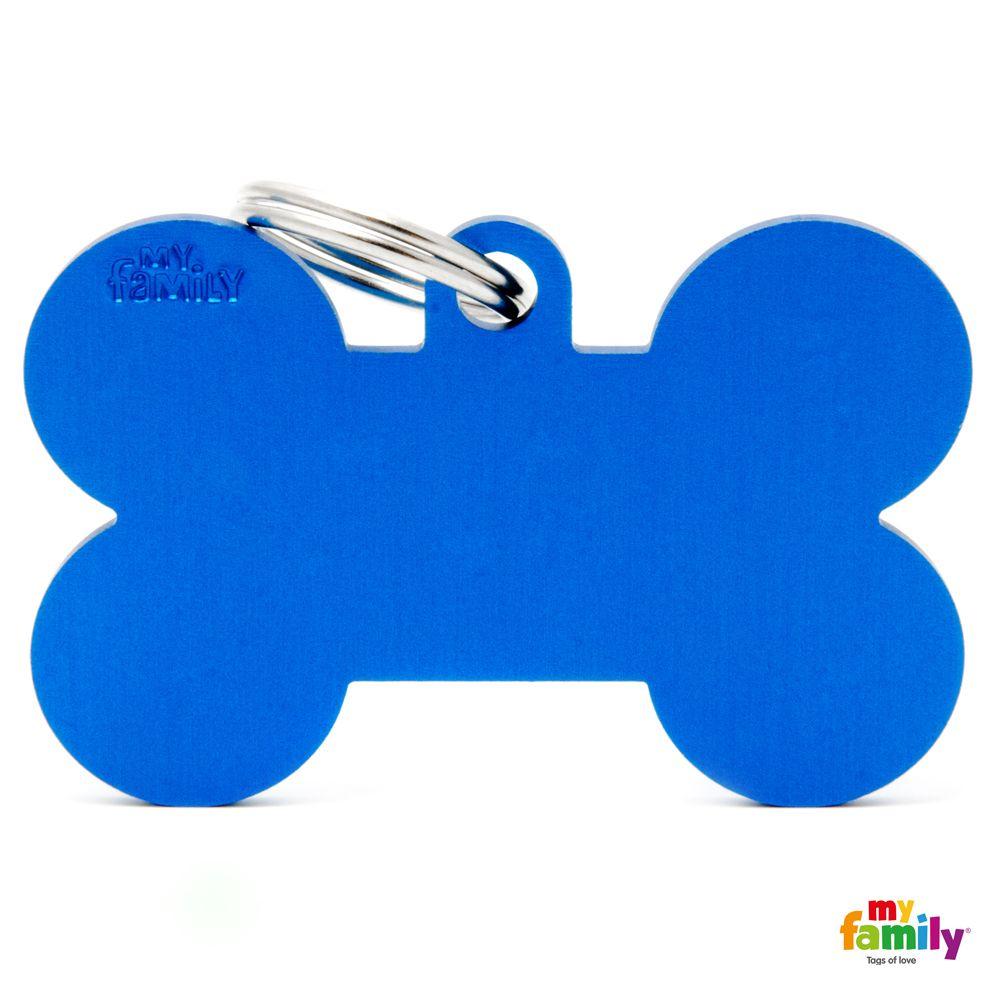 Hueso XL Aluminio Azul placa perro grabado gratuito gato.jpg