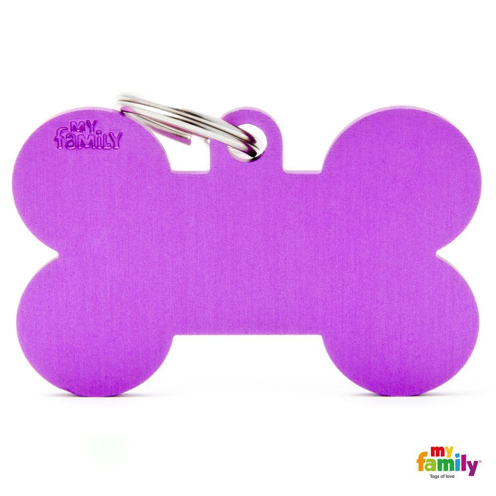 Hueso XL Aluminio morado placa perro grabado gratuito gato.jpg