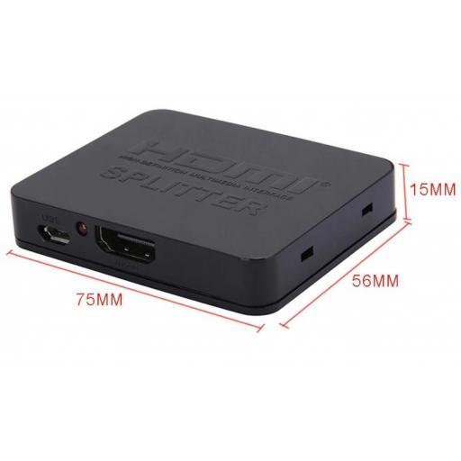 Amplificador de HDMI Duplicator HD 3D Splitter 1 In 2 1080p 4K 3D [2]