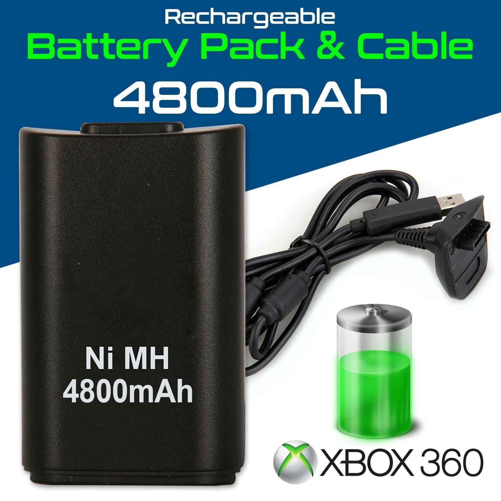 Batería Recargable + Cargador De Mando Xbox 360 4800Mah Compatible