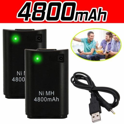 Batería Recargable De Mando Xbox 360 + Cable Compatible