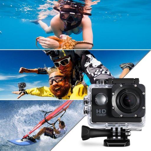 Cámara Deportiva Acción Resistente al Agua FULL HD 1080P LCD [2]