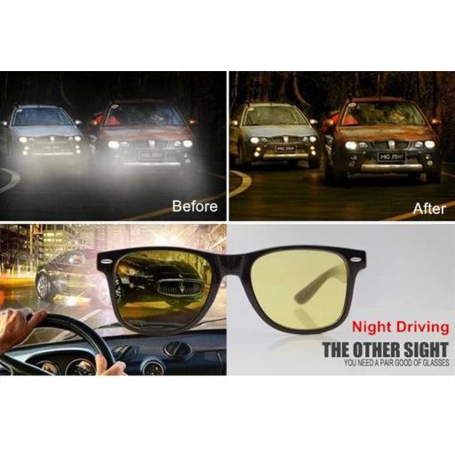 Gafas Negras Visión Nocturna de Lentes Amarillas Conducir de Noche [3]