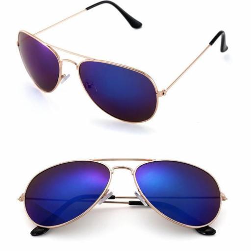 Gafas Piloto con Espejo Azul de Sol Aviador Oro Dorado [1]