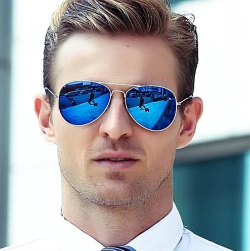 Gafas Piloto con Espejo Azul de Sol Aviador Oro Dorado