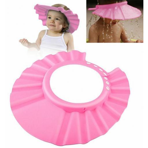 Gorro para ducha niños y bebés visera ajustable impermeable