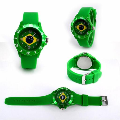 Reloj Bandera de Brasil Verde Casual Unisex Pulsera de Silicona [1]