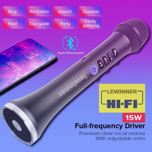 Micrófono Inalámbrico Karaoke Muy Potente Bluetooth Lewinner [1]