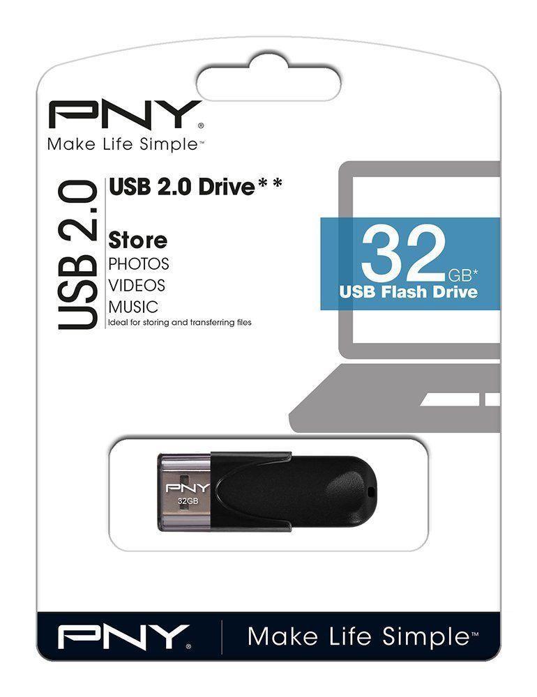 PenDrive Negro USB De 32GB Pequeño 2.0 Rapido PNY