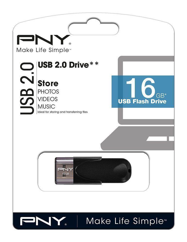 PenDrive USB De 16GB Negro Pequeño 2.0 Rapido PNY
