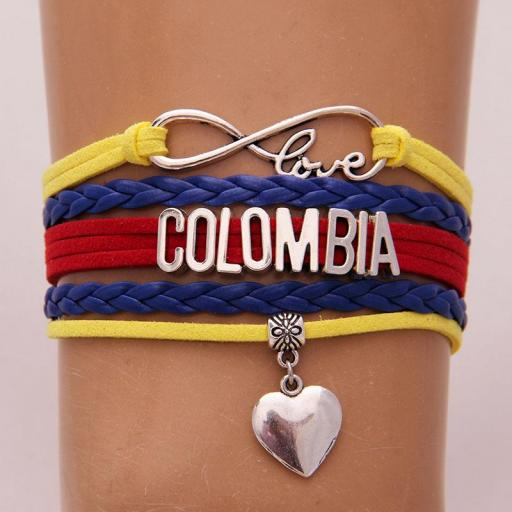 Pulsera Colombia Love Corazón Brazalete Cuerda Unisex