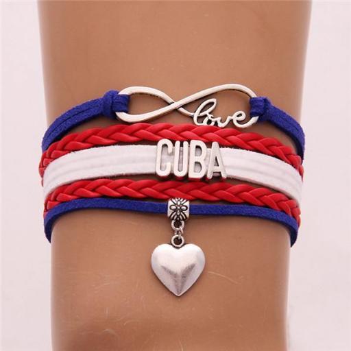 Pulsera Cuba Love Corazón Brazalete Cuerda Cuero Unisex