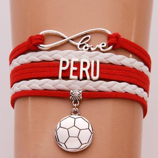 Pulsera Perú Love Pelota de Fútbol Cuerda Brazalete Unisex