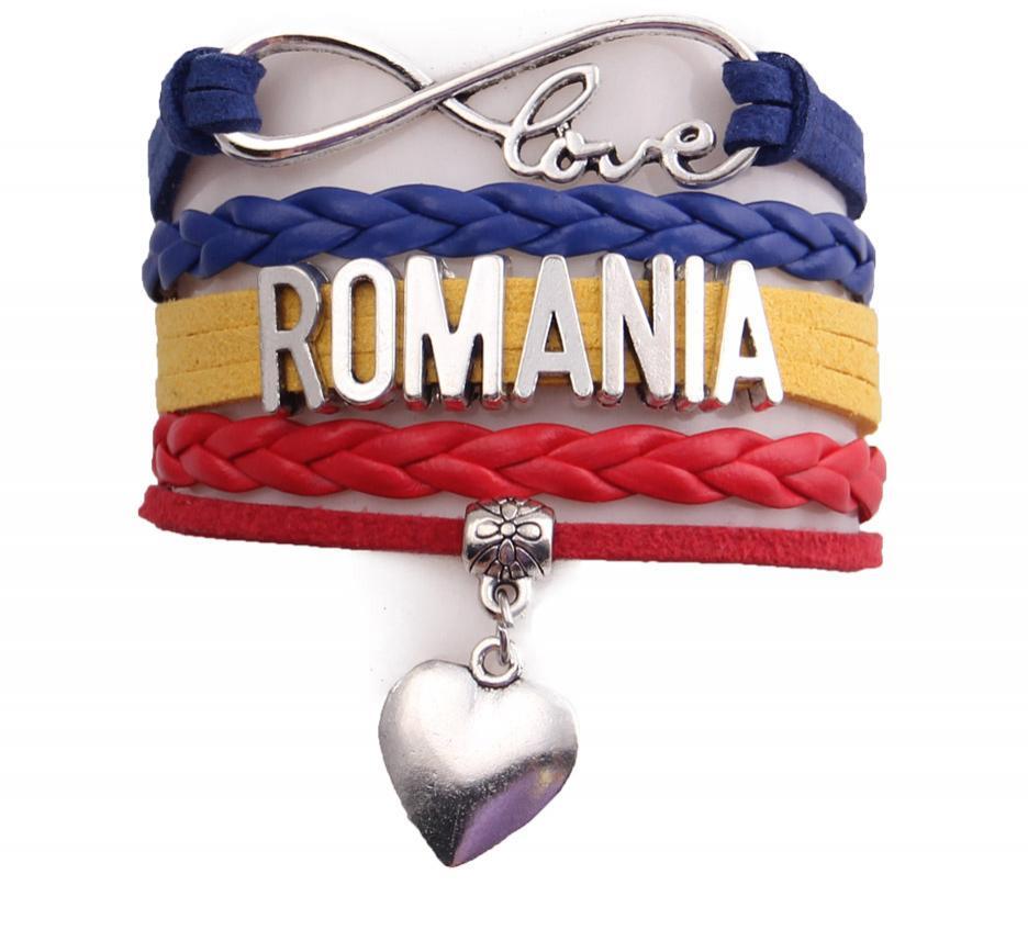 Pulsera Romania Love Corazón Brazalete Cuerda de Cuero Unisex