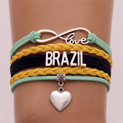 Pulsera de Brasil (Brazil) Love Corazón Brazalete Cuerda Unisex