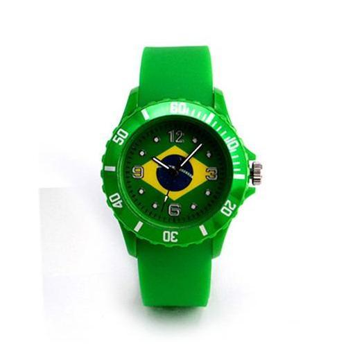 Reloj Bandera de Brasil Verde Casual Unisex Pulsera de Silicona