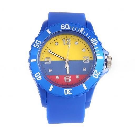 Reloj Bandera de Colombia Azul Casual Unisex Pulsera Silicona
