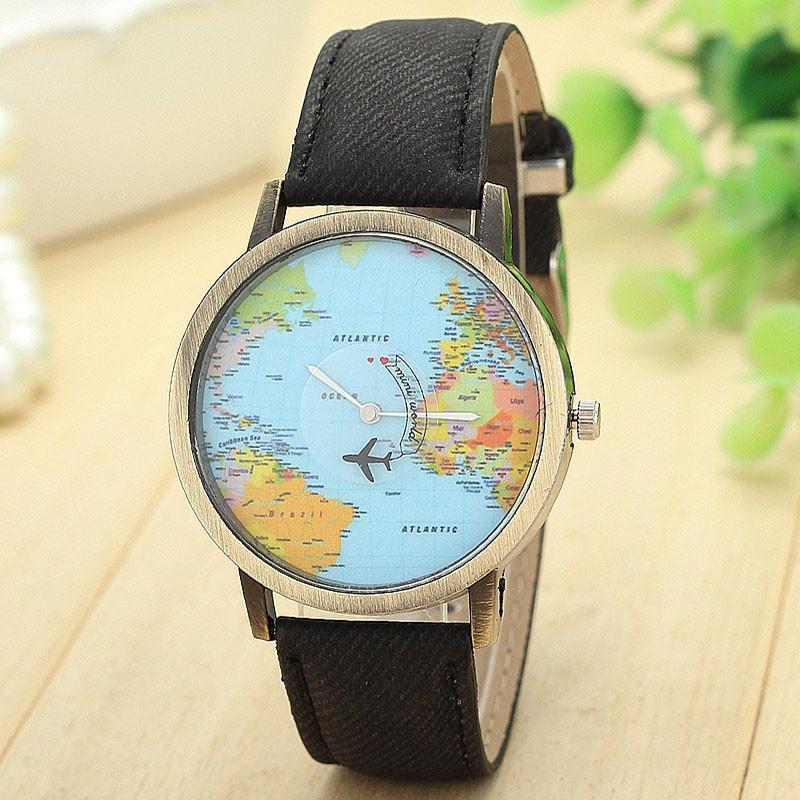 Reloj Mapamundi (Reloj Mapa del Mundo) Con Puntero de Avión