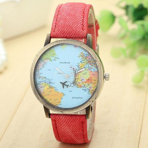 Reloj Mapamundi (Reloj Mapa del Mundo) Con Puntero de Avión [1]