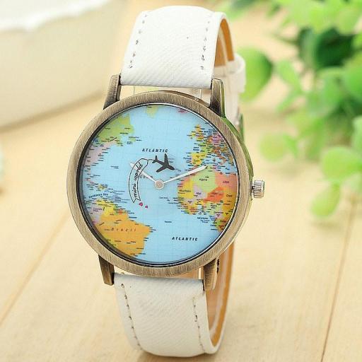 Reloj Mapamundi (Reloj Mapa del Mundo) Con Puntero de Avión [2]