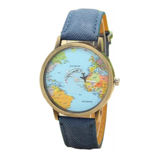 Reloj Mapamundi (Reloj Mapa del Mundo) Con Puntero de Avión [3]