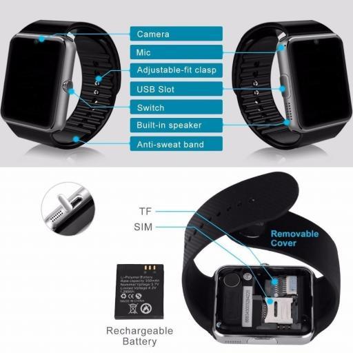 Reloj Móvil Inteligente con WhatsApp Bluetooth - Android iOS [1]