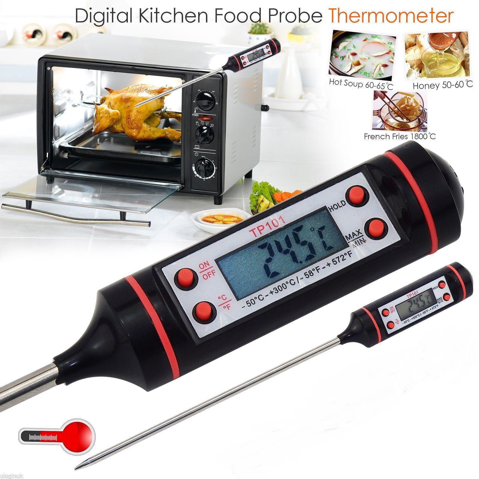 Termometro Digital De Cocina Acero Alimentos Comida Liquidos 300ºc