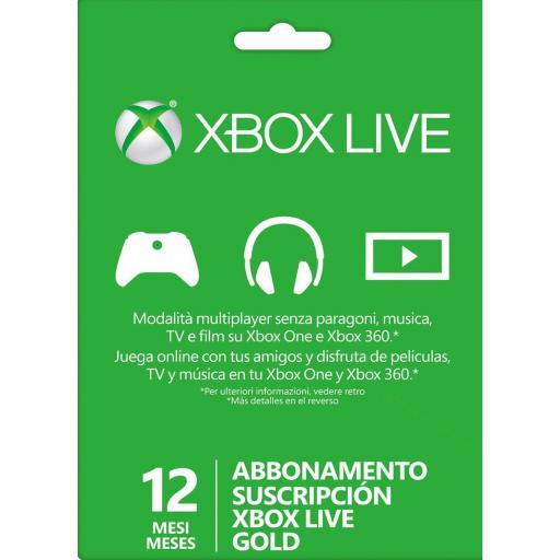 Tarjeta Código Xbox Live Gold 12 Meses 1 Año Xbox 360 / One