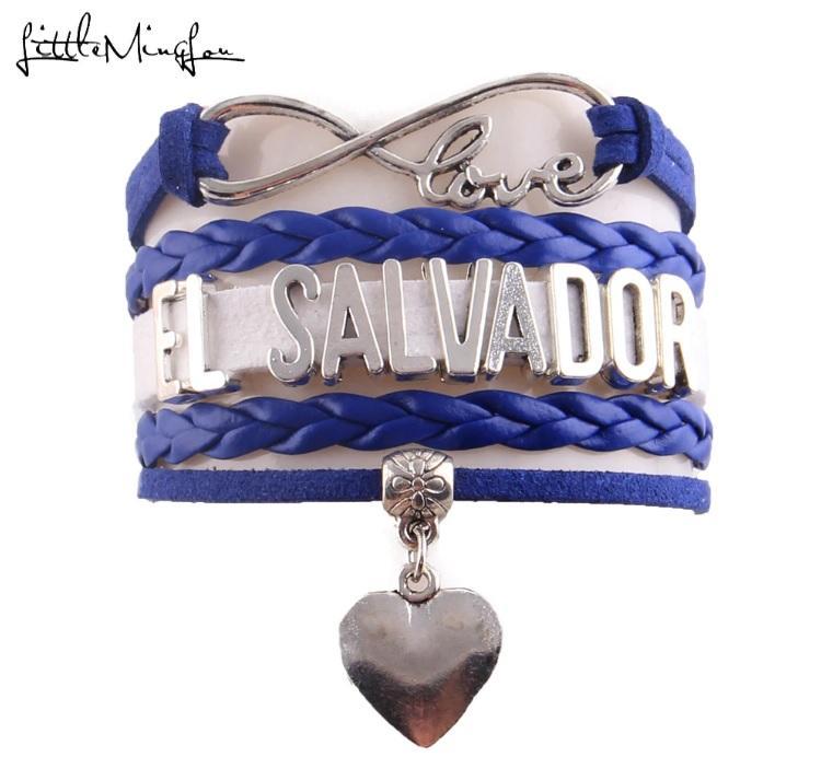 Pulsera El Salvador Love Corazón para Hombres y Mujeres