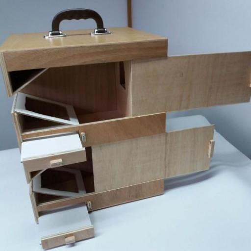 Transportín Artesanal de madera marina (4 palomas) [2]