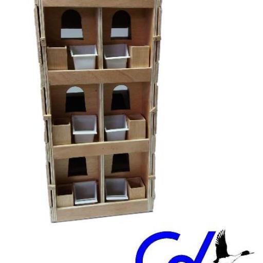 Transportín Artesanal de madera marina (6 palomas)