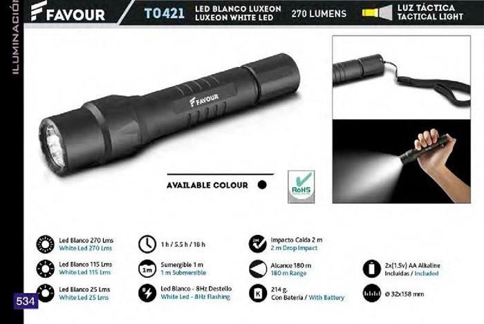 LINTERNA LED BLANCO 270 LMS