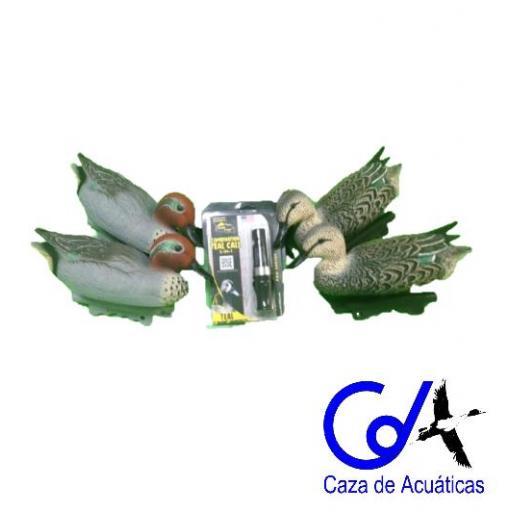 PACK RECLAMO T2 + 4 CIMBLES DE CERCETA (2 MACHOS Y 2 HEMBRAS)