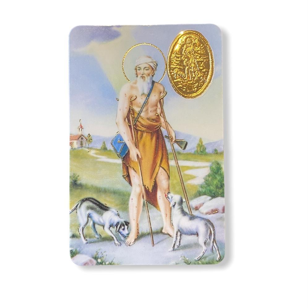 Estampa con medalla San Lázaro
