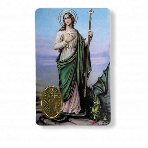 Estampa con medalla Santa Marta