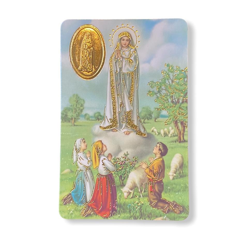 Estampa con medalla Virgen de Fátima