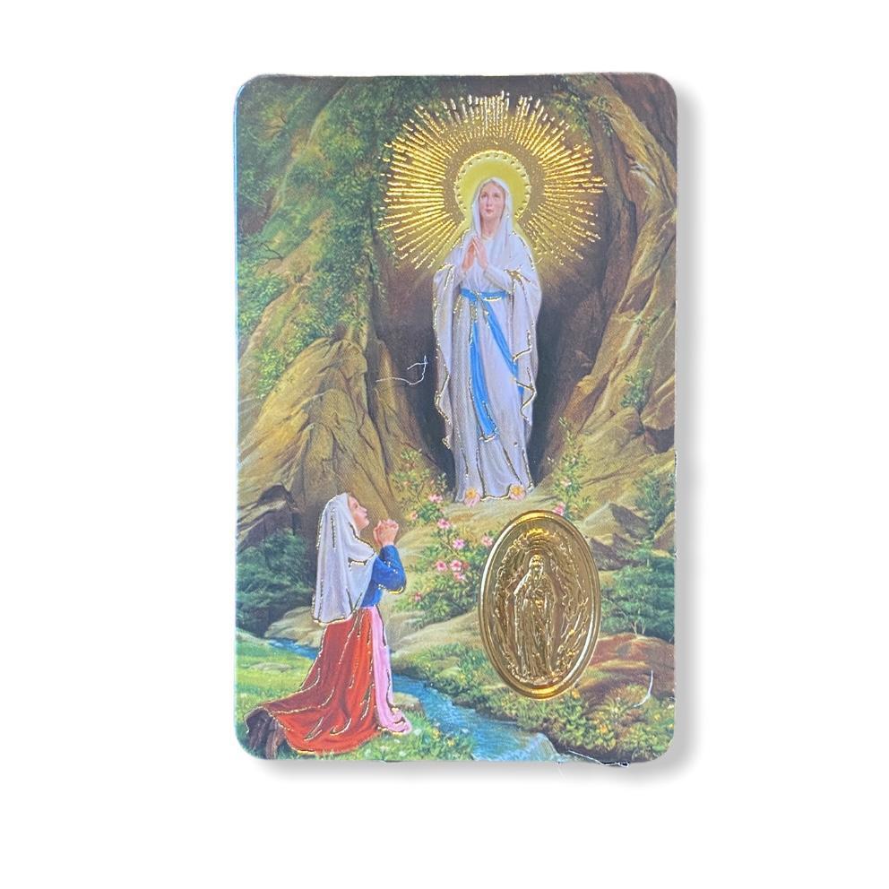 Estampa con medalla Virgen de Lourdes